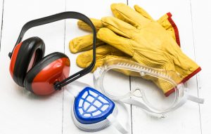 PPE equipment, gloves, ear defenders, goggles